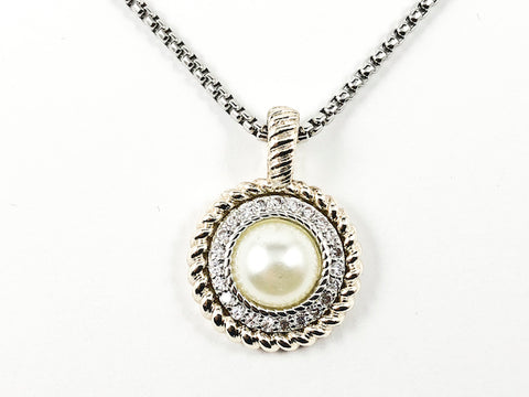 Modern Textured Round Charm Pendant With Center Pearl & CZ Two Tone Brass Necklace