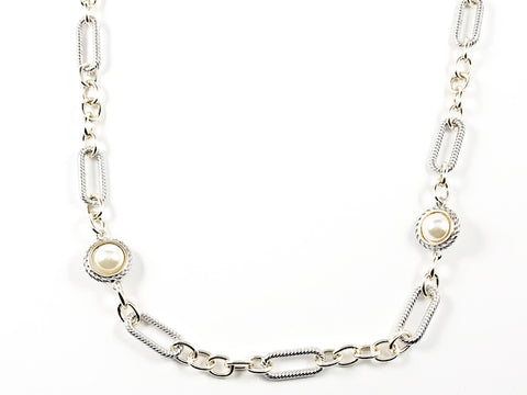 Unique Link With Pearl Pattern 2 Tone Design Long Brass Necklace