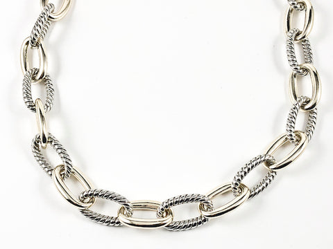 Modern Thick Textured Chain Link With Toggle Clasp Two Tone Brass Necklace