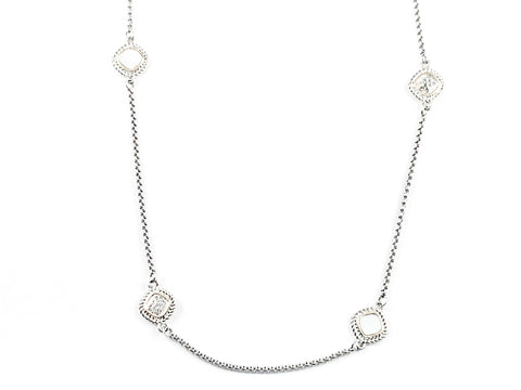 Modern Textured Diamond Shape Mother Of Pearl & CZ Post Charms Long Brass Necklace