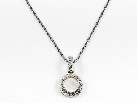Modern Round Shape Cable Textured With Mother Of Pearl Center Design Charm Brass Necklace
