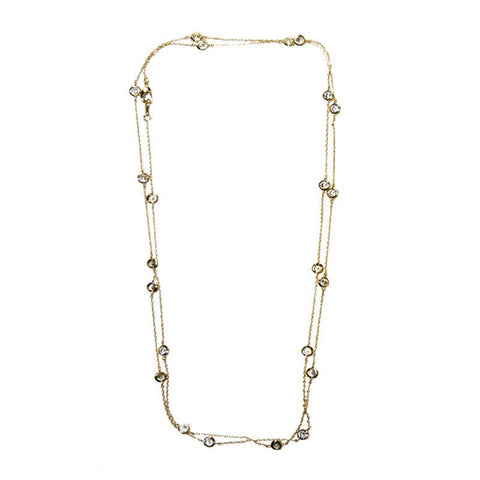 Elegant Long Diamond By The Yard CZ Gold Tone Brass Necklace