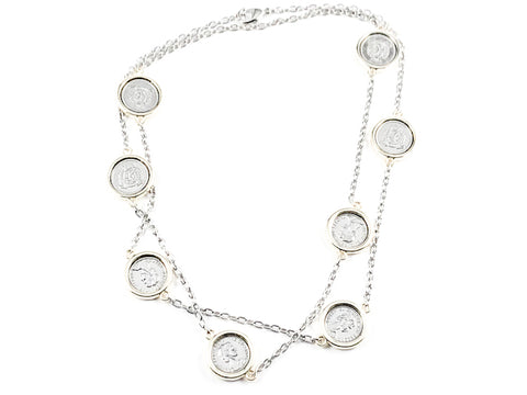 Beautiful Long Vintage Silver Coin Design Charm Post Two Tone Brass Necklace
