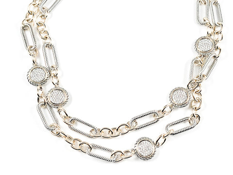 Unique Chain Link Round Disc Micro Setting CZ Pattern Two Tone Long Style Brass Necklace