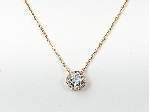 Classic Round Halo Design CZ Pendant Gold Tone Brass Necklace