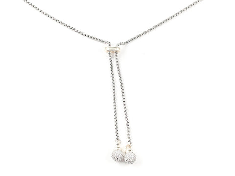 Elegant Unique Lariat Style Double CZ Ball Charms Two Tone Long Brass Necklace