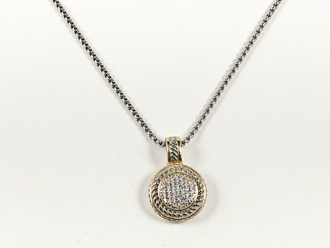 Modern Pave Style CZ Round Disc Two Tone Style Pendant Charm Brass Necklace