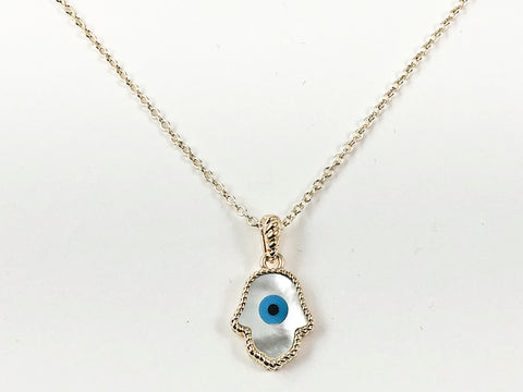 Beautiful Hamsa Hand Evil Eye Mother Of Pearl Gold Tone Brass Necklace