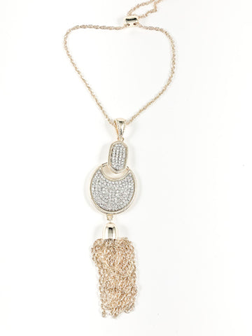 Unique Fancy Micro Crystal Mix Shape Dangle Charm With Tassel Lariat Gold Tone Brass Necklace