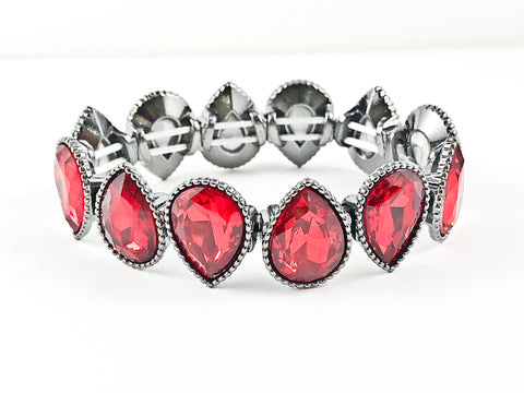 Fancy Red Pear Shaped Stones Stretch Fashion Bracelet