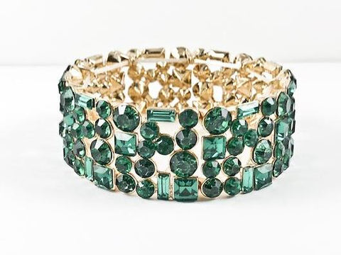 Fancy Multi Shape Stone Green Color Yellow Gold Fashion Bracelet
