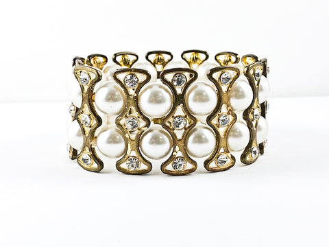Fancy Elegant Pearl Stretch Fashion Bracelet