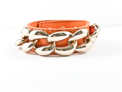 Unique Trendy Chain Link Design Orange Leather Fashion Bracelet