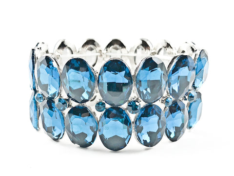 Fancy 2 Row Large Oval Shape Blue Crystals Stretch Fashion Bracelet