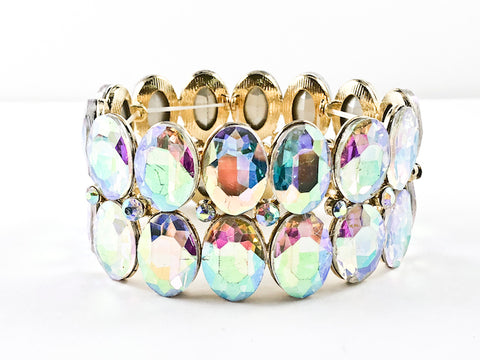 Fancy 2 Row Oval Shape Aurora Borealis Color Stones Stretch Fashion Bracelet