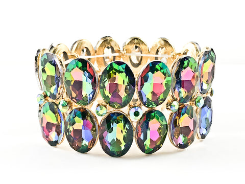 Fancy 2 Row Oval Shape Mystic Topaz Color Stones Stretch Fashion Bracelet