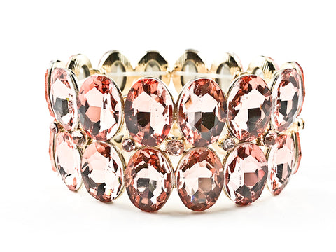 Fancy 2 Row Large Oval Shape Pink Crystals Gold Tone Stretch Fashion Bracelet