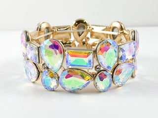 Unique Mix Shaped Aurora Borealis Color Stones Fashion Bracelet