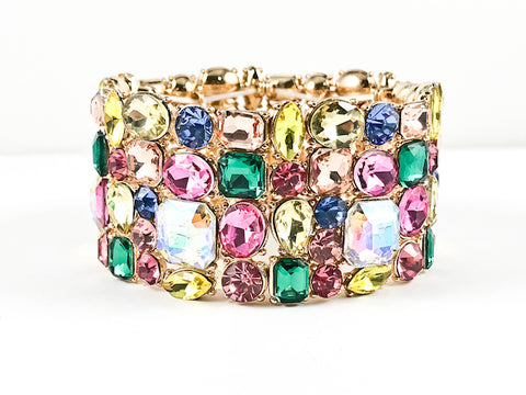 Fancy Sparkly Colorful Large Thick Stretch Fashion Bracelet