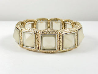 Fancy Elegant Squared Yellow Gold Grey Color Stretch Fashion Bracelet