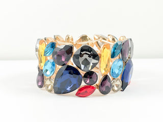 Fancy Multi Color & Shape Stones Stretch Fashion Bracelet