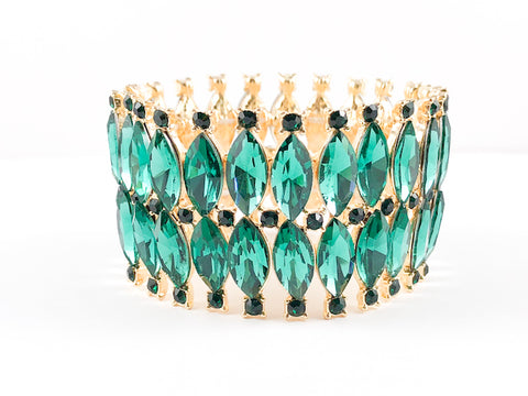 Classic 2 Row Emerald Marquise Fashion Bracelet