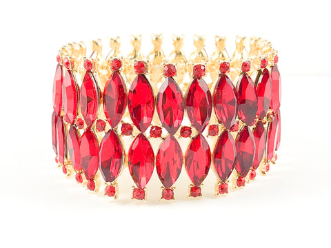 Classic 2 Row Red Marquise Fashion Bracelet