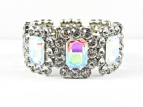 Fancy Stylish Vintage Large Emerald Cut Design Stretch Fashion Bracelet