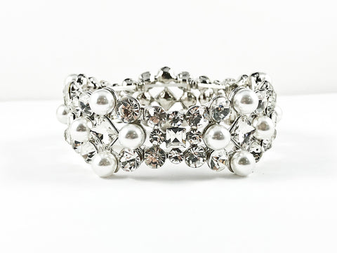 Fancy Unique Shape With Pearls & Crystals Stretch Fashion Bracelet