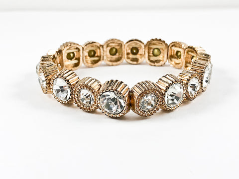 Modern Round Cut Elegant Setting Flexible Stretch Fashion Bracelet
