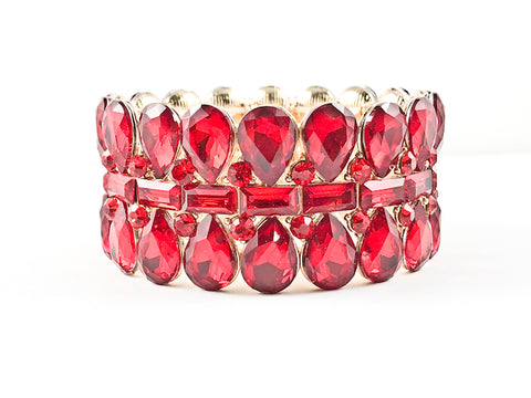 Fancy Stylish Red Big Stone 3 Level Design Stretch Fashion Bracelet