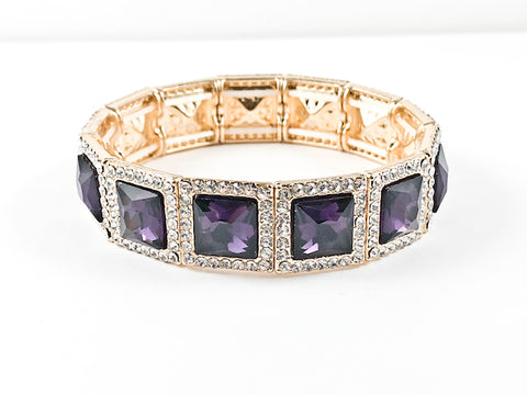 Fancy Elegant Square Shape Purple Stretch Fashion Bracelet