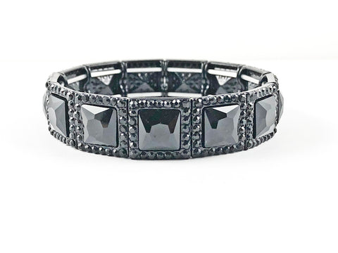Fancy Elegant Square Shape Full Black Stones & Frame Stretch Fashion Bracelet