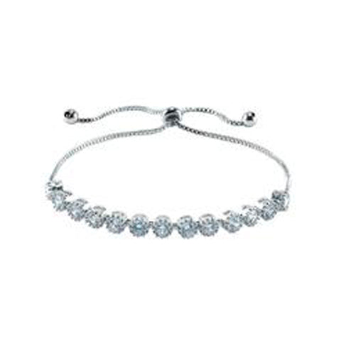 Elegant Round Cut CZ Tennis Draw String Adjustable Brass Bracelet