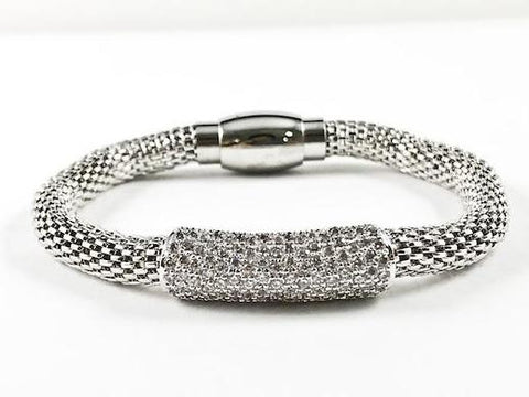 Modern Textured Bead With Thick CZ Bar Magnetic Brass Bracelet