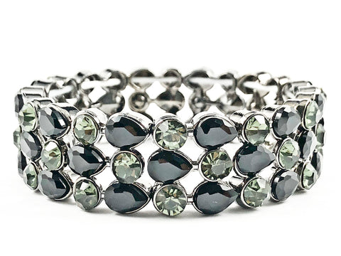 Fancy 3 Row Mix Shape Stones Black Crystal Dark Stretch Fashion Bracelet