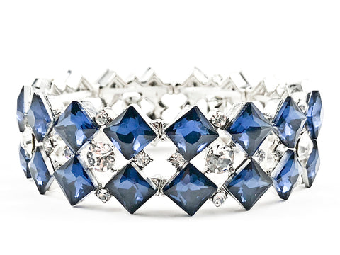 Fancy 3 Row Diamond Shape Large Sapphire Color Crystal Stretch Fashion Bracelet