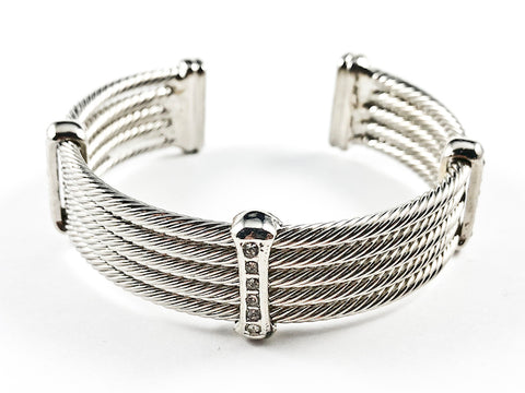 Modern Thick Multi Row Wire Texture Design Band With Micro Thin CZ Bars Silver Tone Brass Cuff Bangle