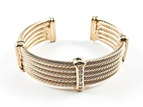 Modern Thick Multi Row Wire Texture Design Band With Micro Thin CZ Bars Gold Tone Brass Cuff Bangle