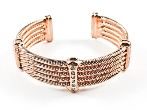 Modern Thick Multi Row Wire Texture Design Band With Micro Thin CZ Bars Pink Gold Tone Brass Cuff Bangle