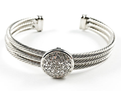 Modern Thick Multi Row Wire Texture Band With Center Round CZ Disc Silver Tone Brass Cuff Bangle