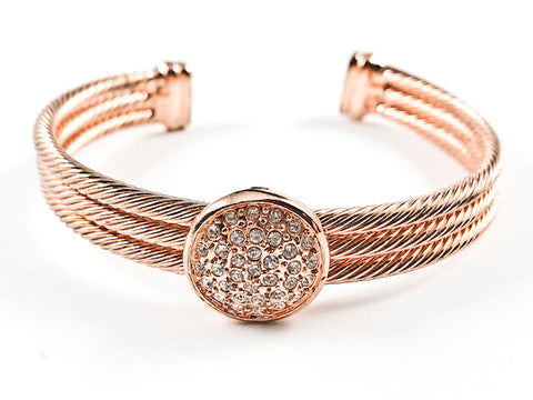 Modern Thick Multi Row Wire Texture Band With Center Round CZ Disc Pink Gold Tone Brass Cuff Bangle