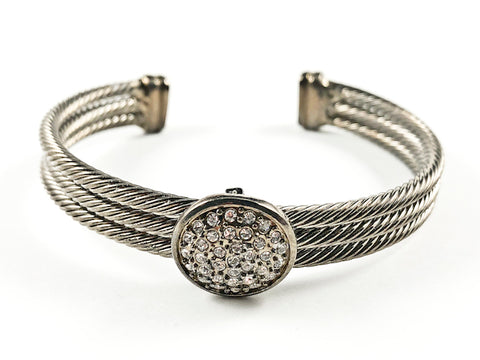 Modern Thick Multi Row Wire Texture Band With Center Round CZ Disc Black Rhodium Tone Brass Cuff Bangle