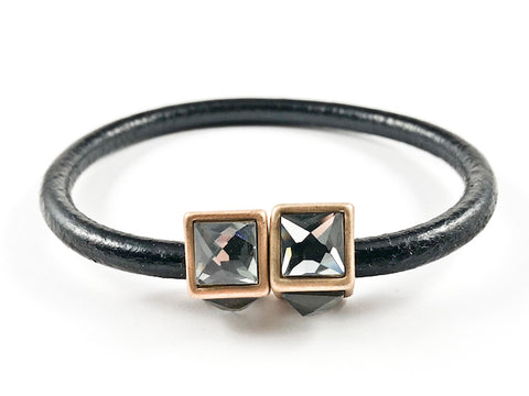Creative Black Leather Band With Unique Cubed Black Crystal Duo Ends Magnetic Fashion Bracelet