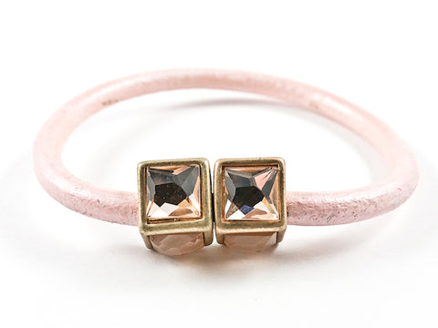 Creative Pink Leather Band With Unique Cubed Pink Crystal Duo Ends Magnetic Fashion Bracelet