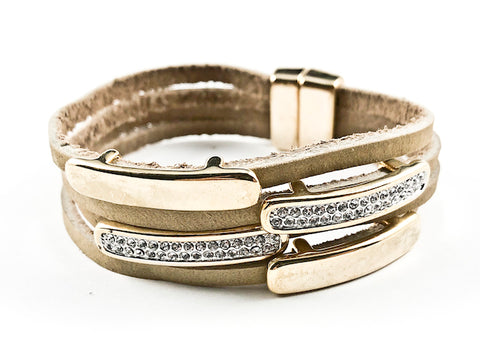Modern Multi Row & Strand CZ & Shiny Metallic Bars Brown Leather Magnetic Brass Bracelet
