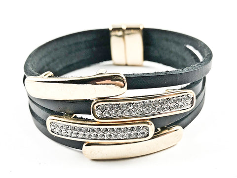 Modern Multi Row & Strand CZ & Shiny Metallic Bars Leather Magnetic Brass Bracelet