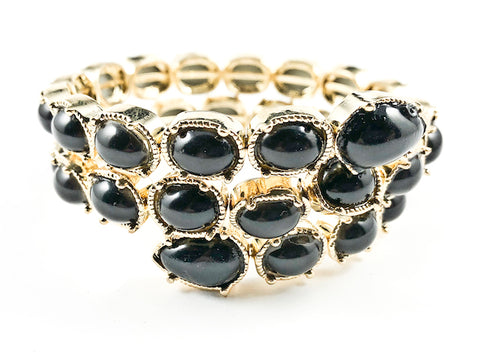 Unique Wrap Around Coil Gold Tone Large Black Stones Brass Bracelet