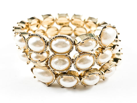 Unique Wrap Around Coil Gold Tone Large Pearl Brass Bracelet
