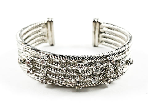 Nice Thick Multi Row Layered Wire Textured Band With Scattered Crystals Brass Cuff Bangle